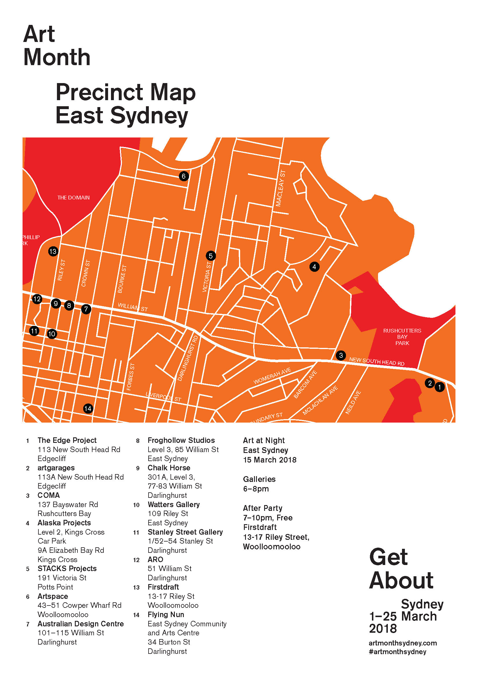 Art Month Sydney 2018 | East Sydney Precinct Night on syd ney botanical garden map, train line map, heritage harbor parking map, oakland map, sidney mt map, garden island nsw map, 1968 holiday inn kings cross sydney map, manly australia map, king s cross map, brisbane cbd map, sidney on a world map, australia attractions map,
